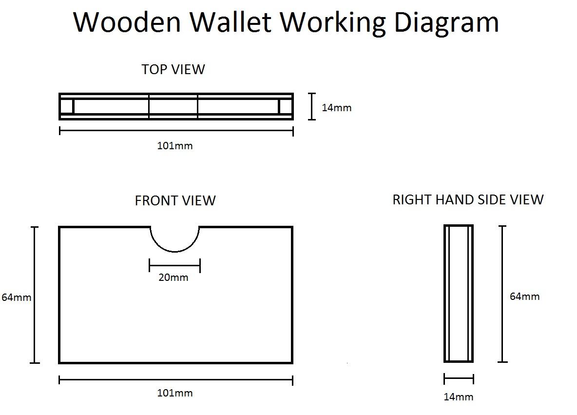 Wooden Wallet Orthogonal + Sizes