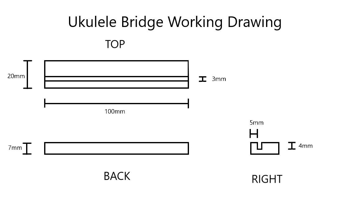 Ukulele Bridge Working Drawing