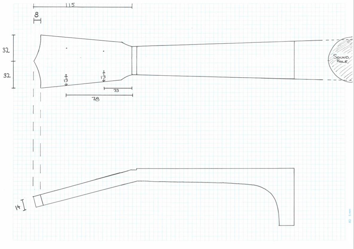 Ukulele Neck Working Drawing (Existing)